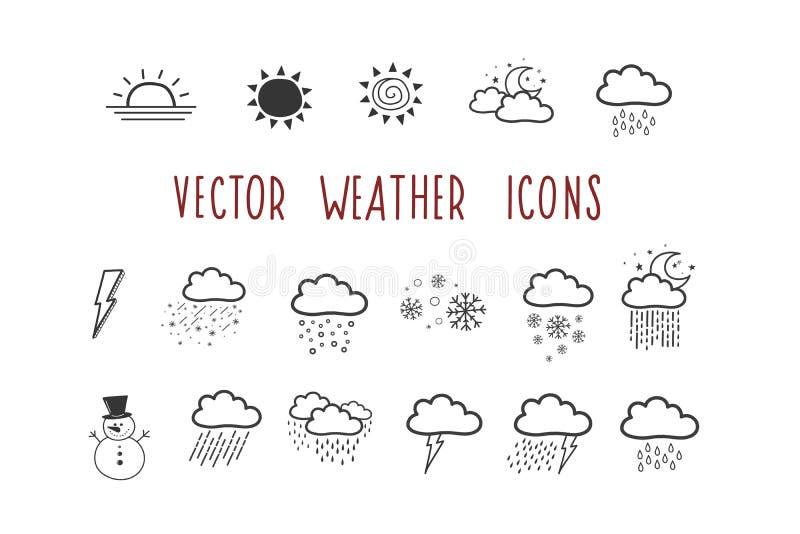 Un sistema de iconos del tiempo del vector insignia del Garabato-estilo Ejemplo a mano stock de ilustración