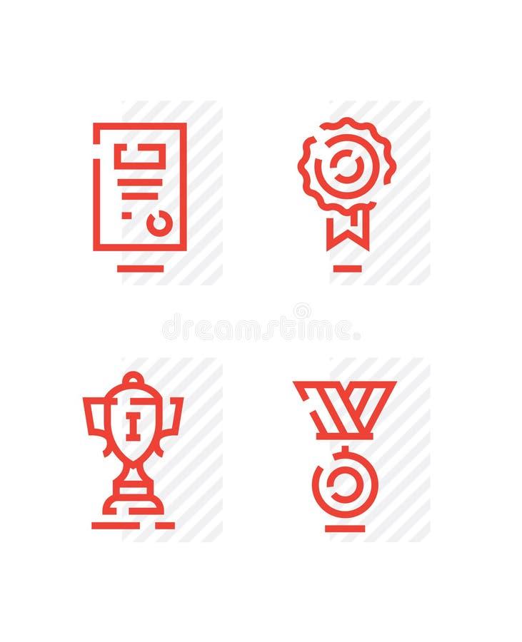 Un sistema de iconos en un deporte del tema La taza del ganador para el primer lugar, el diploma, el certificado, el certificado, ilustración del vector