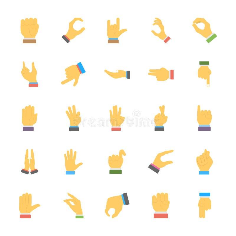 Un sistema de iconos de los gestos de mano stock de ilustración