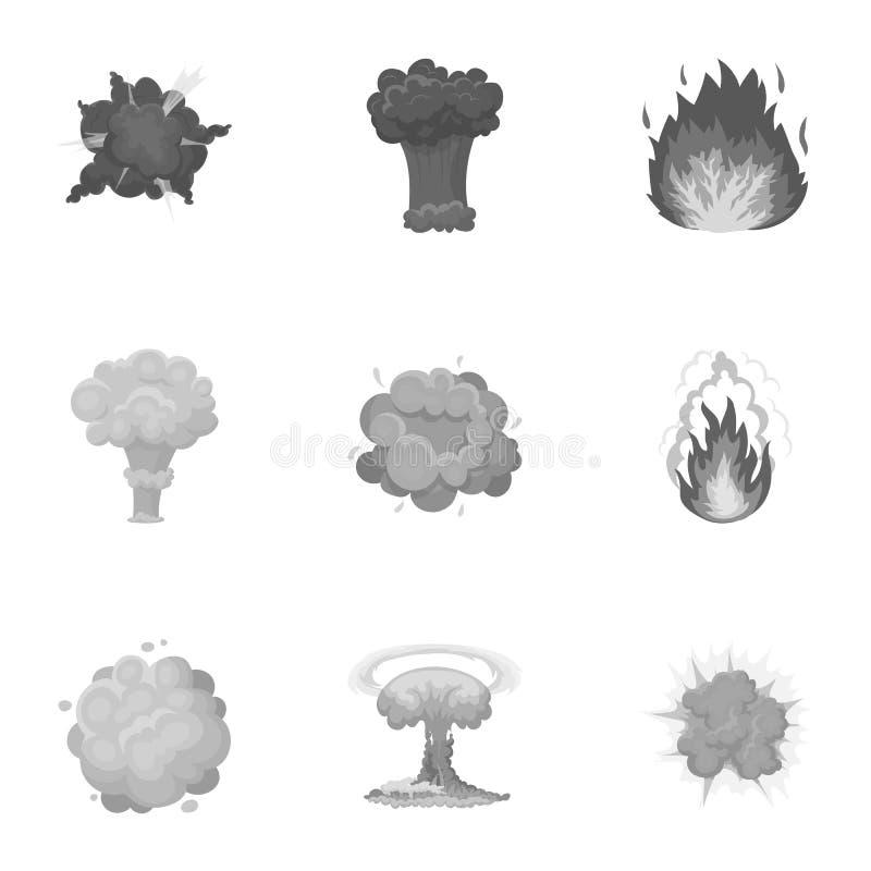 Un sistema de iconos sobre la explosión Diversas explosiones, una nube del humo y fuego Icono de las explosiones en la colección  stock de ilustración