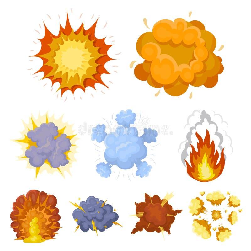 Un sistema de iconos sobre la explosión Diversas explosiones, una nube del humo y fuego Icono de las explosiones en la colección  libre illustration