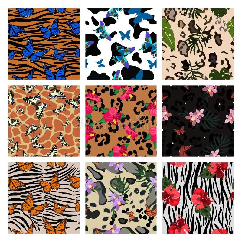 Un sistema de impresiones animalistas combinadas con los elementos de la planta y las mariposas tropicales Conjunto de modelos in stock de ilustración
