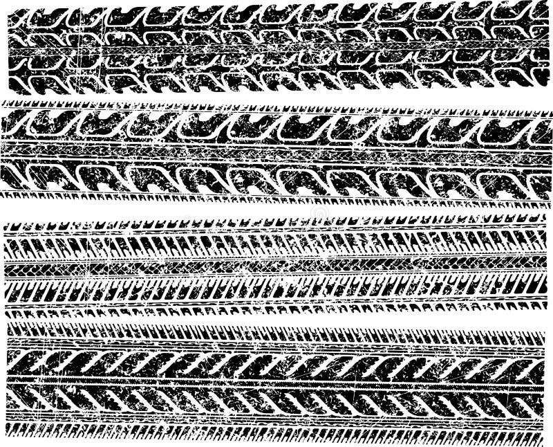 Un sistema de 4 impresiones detalladas del neumático para su diseño Illustra del vector libre illustration