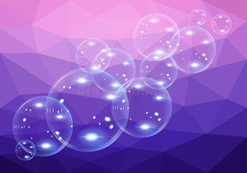 Un sistema de la burbuja de jabón transparente en polígono del fondo libre illustration