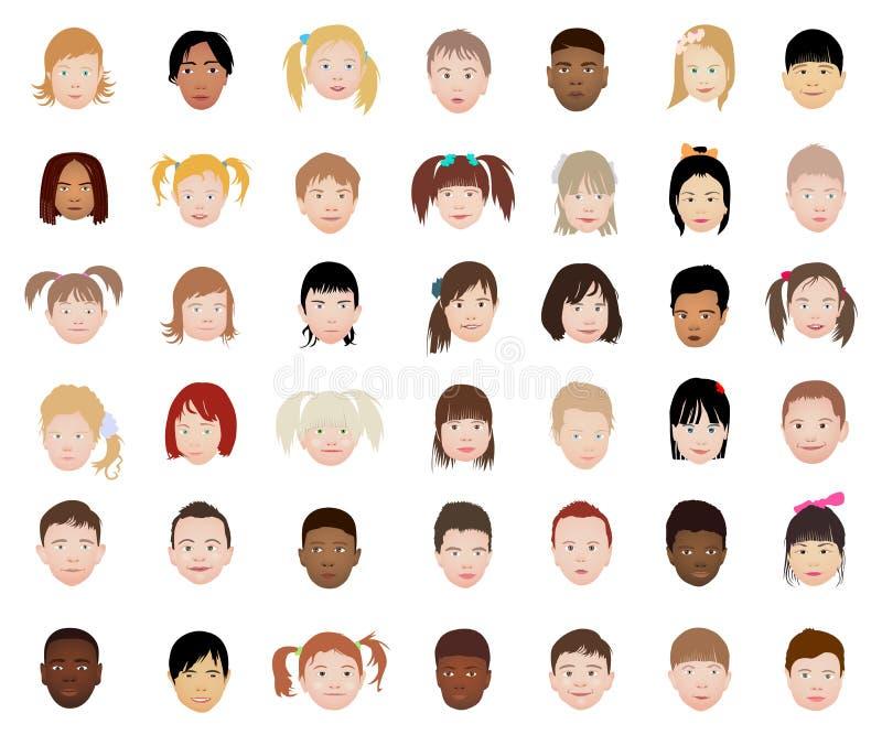 Un sistema de la colección principal del icono de los niños aislada en el fondo blanco ilustración del vector