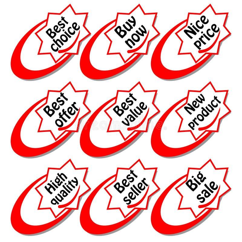 Un sistema de la etiqueta de las compras con la inscripción en forma de la estrella El mejor precio, el superventas, el mejor val stock de ilustración