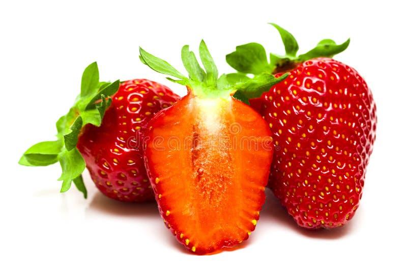 Un sistema de la fresa fresca aislado en el fondo blanco imagen de archivo libre de regalías