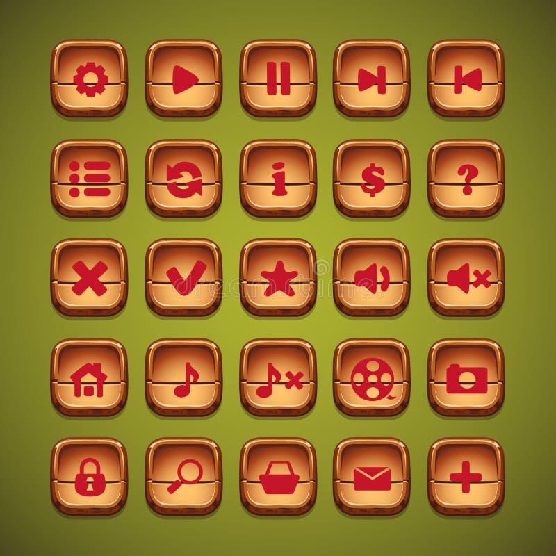Un sistema de la historieta de madera abotona para la interfaz de usuario de juegos de ordenador y del diseño web stock de ilustración