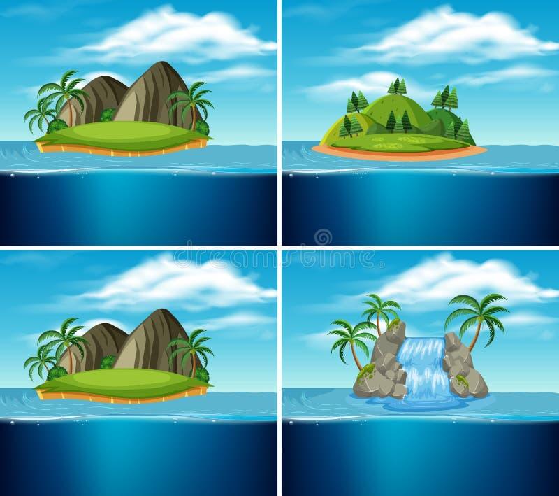 Un sistema de la isla del paraíso stock de ilustración