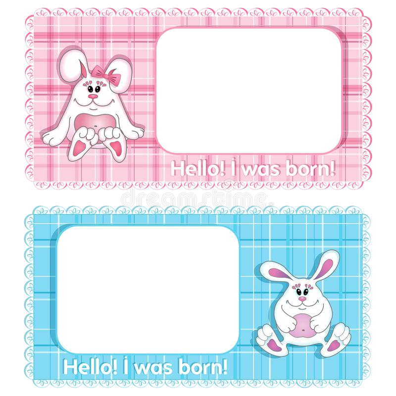 Un sistema de la tarjeta de cumplea?os del fondo de dos vectores para el ni?o Muchacho lindo azul del conejito y muchacha rosada  stock de ilustración