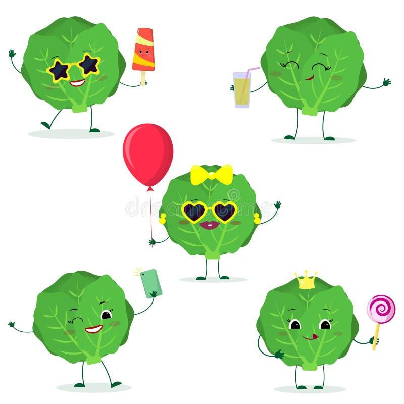 Un sistema de la verdura linda de la col de cinco Kawaii en estilo de la historieta En vidrios con helado, con un globo, con una  libre illustration