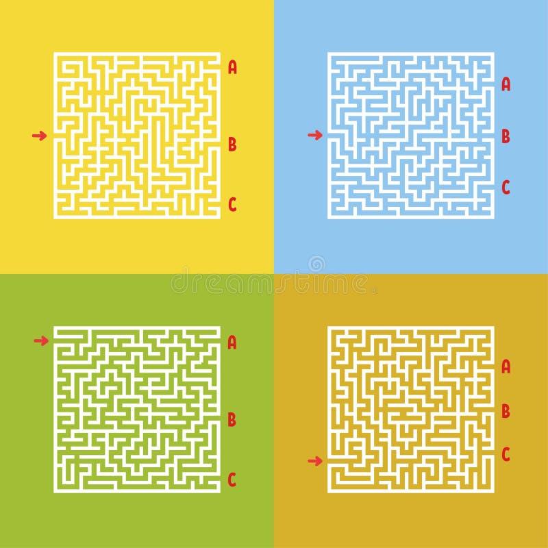 Un sistema de laberintos Juego para los cabritos Rompecabezas para los niños Enigma del laberinto Estilo de la historieta Hojas d ilustración del vector