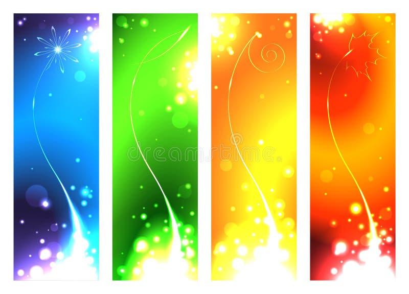 Un sistema de las banderas para las estaciones ilustración del vector