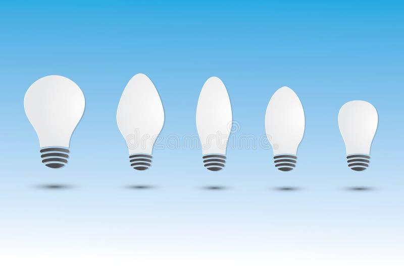 Un sistema de las bombillas blancas con diversos tamaño y forma en fondo azul ilustración del vector