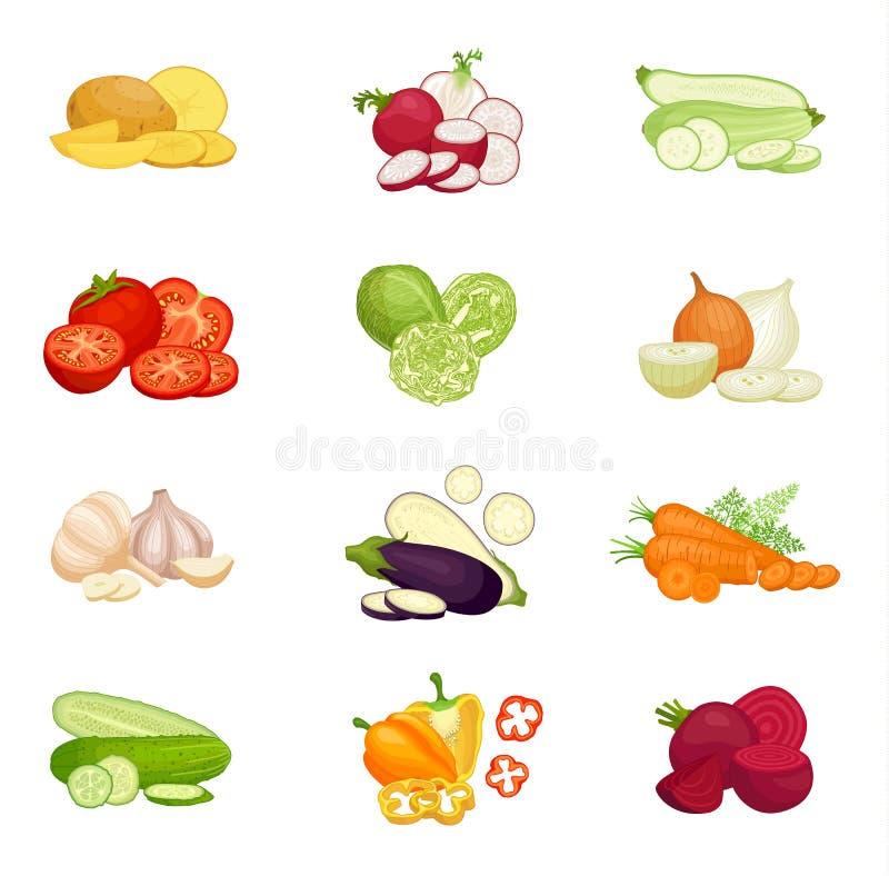 Un sistema de las composiciones de diversas verduras Ilustraci?n del vector libre illustration