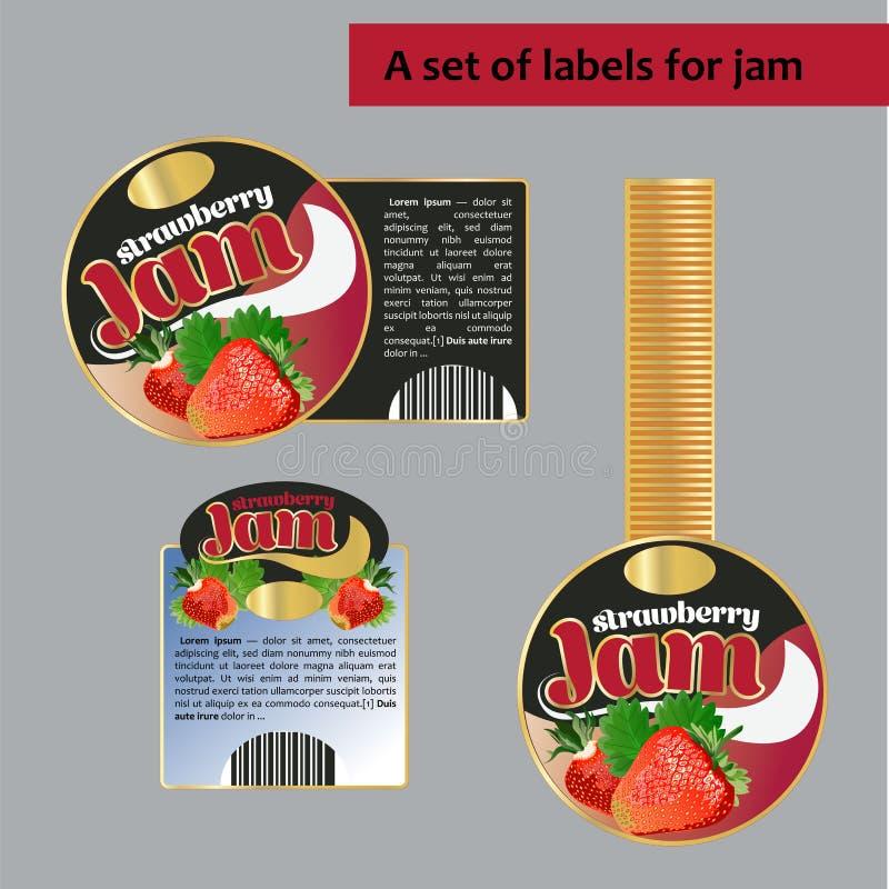 Un sistema de las etiquetas para la mermelada de fresa Imagen aislada ilustración del vector