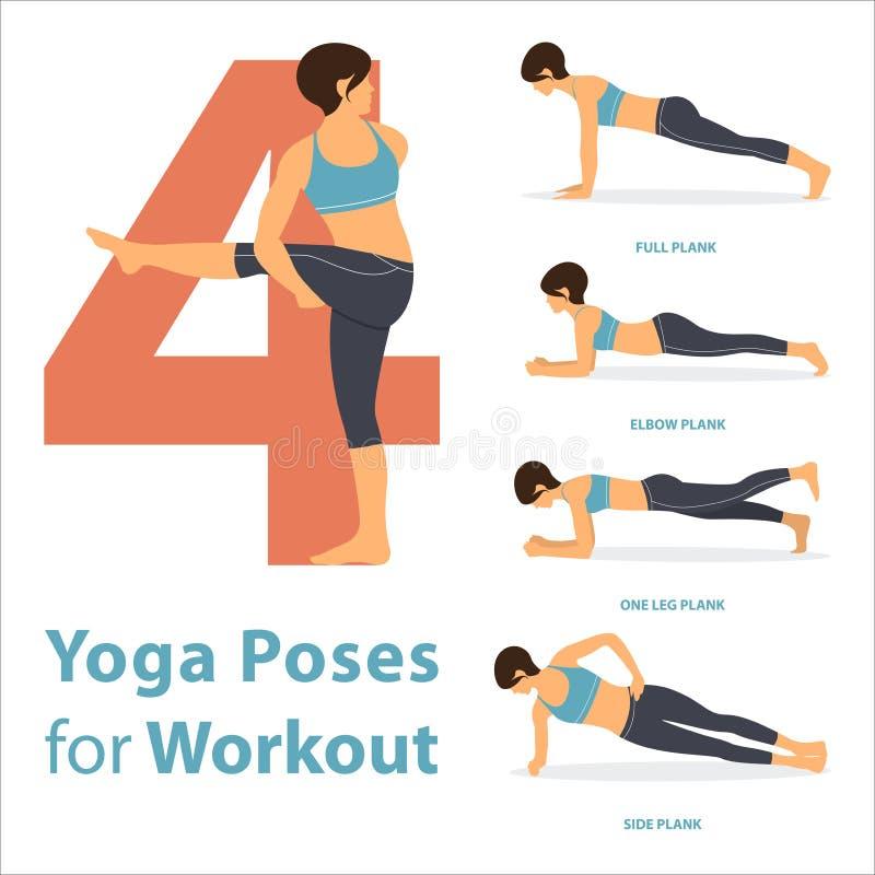Un sistema de las figuras femeninas de las posturas de la yoga para Infographic 4 actitudes de la yoga para el entrenamiento en d stock de ilustración
