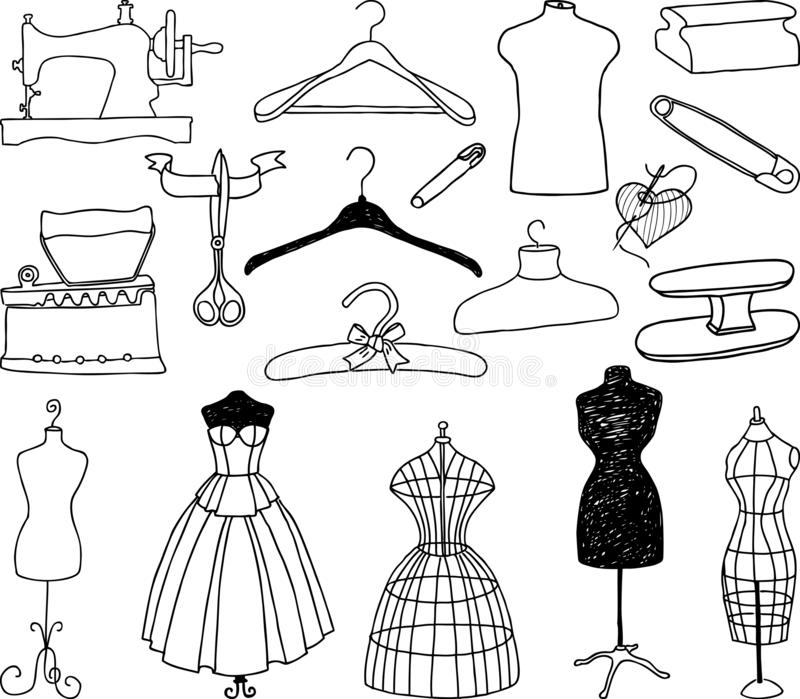 Un sistema de las herramientas para coser el estudio ilustración del vector