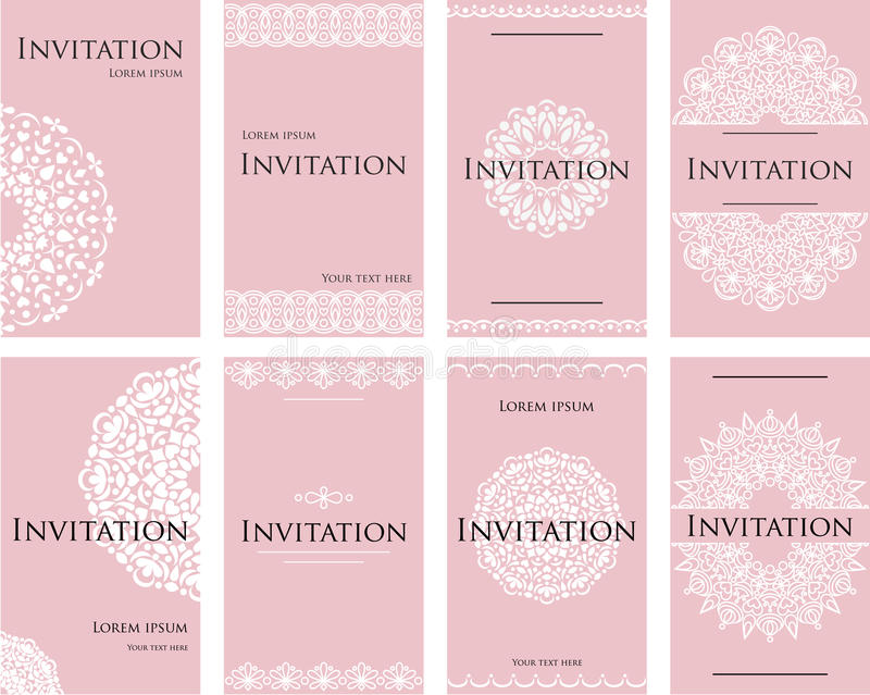 Un sistema de las invitaciones para una celebración de la boda Tarjeta hermosa, papel con membrete para el texto ilustración del vector