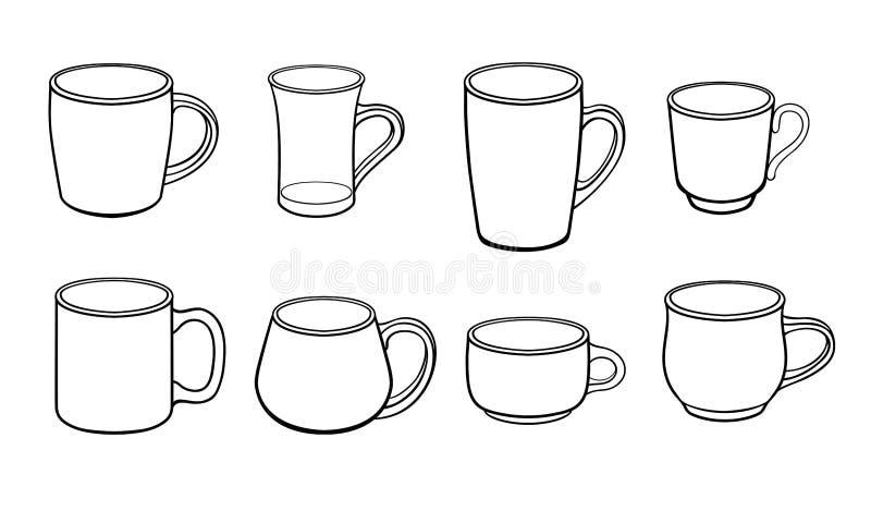 Un sistema de las tazas para el té y el café de diversos tamaños y formas dibujo linear del vector libre illustration