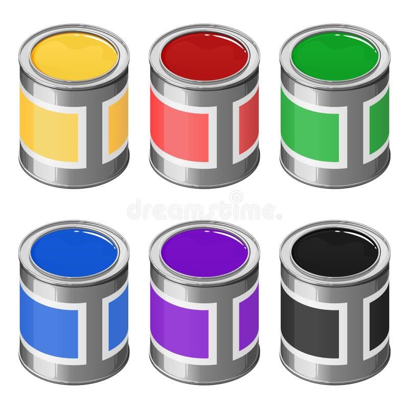 Un sistema de latas de pinturas, rojo, amarillo, verde, azul, violeta y negro Ejemplo isom?trico del vector stock de ilustración