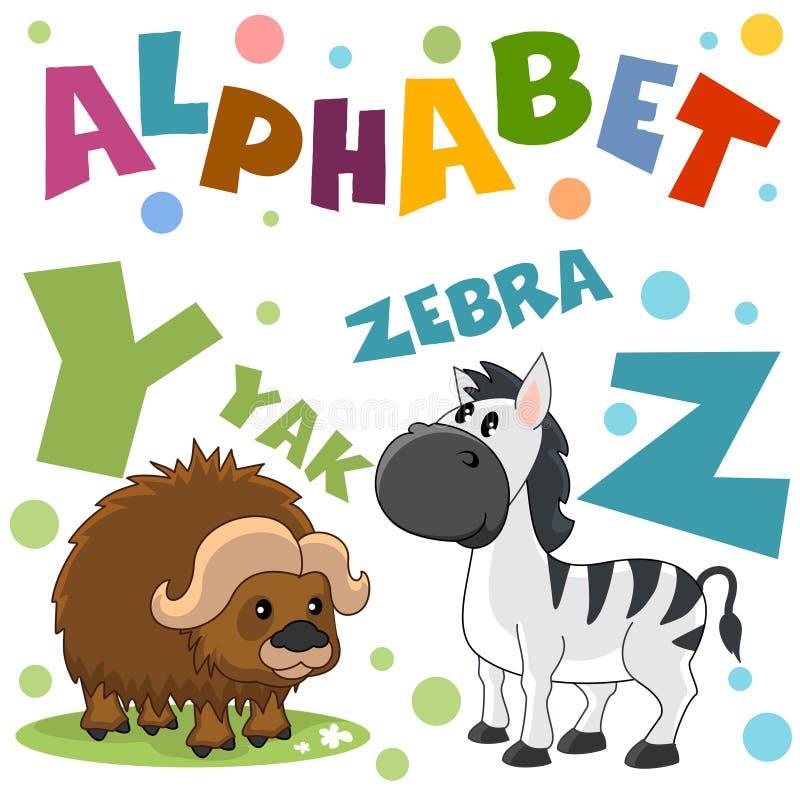 Un sistema de letras con las imágenes de animales, palabras del alfabeto inglés Para la educación de niños Partido 7 stock de ilustración
