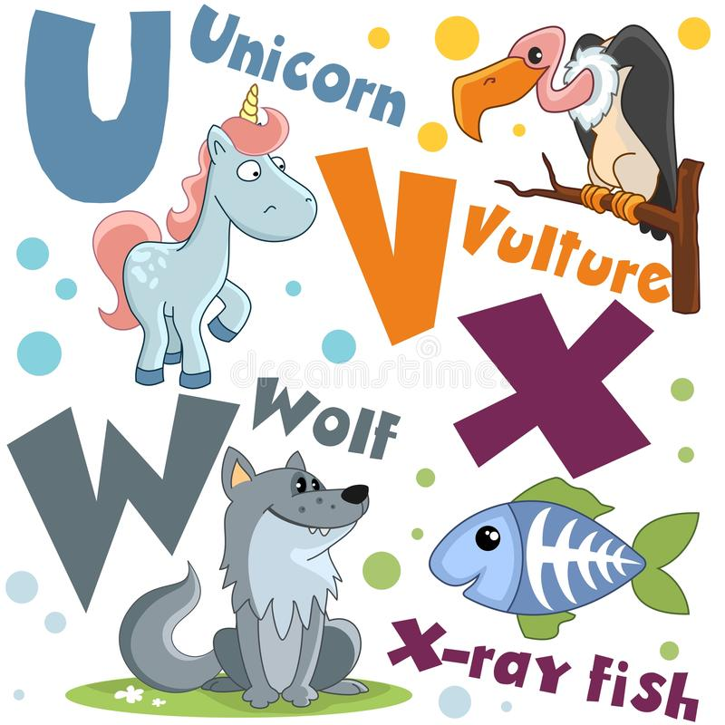 Un sistema de letras con las imágenes de animales, palabras del alfabeto inglés Para la educación de niños Partido 6 ilustración del vector