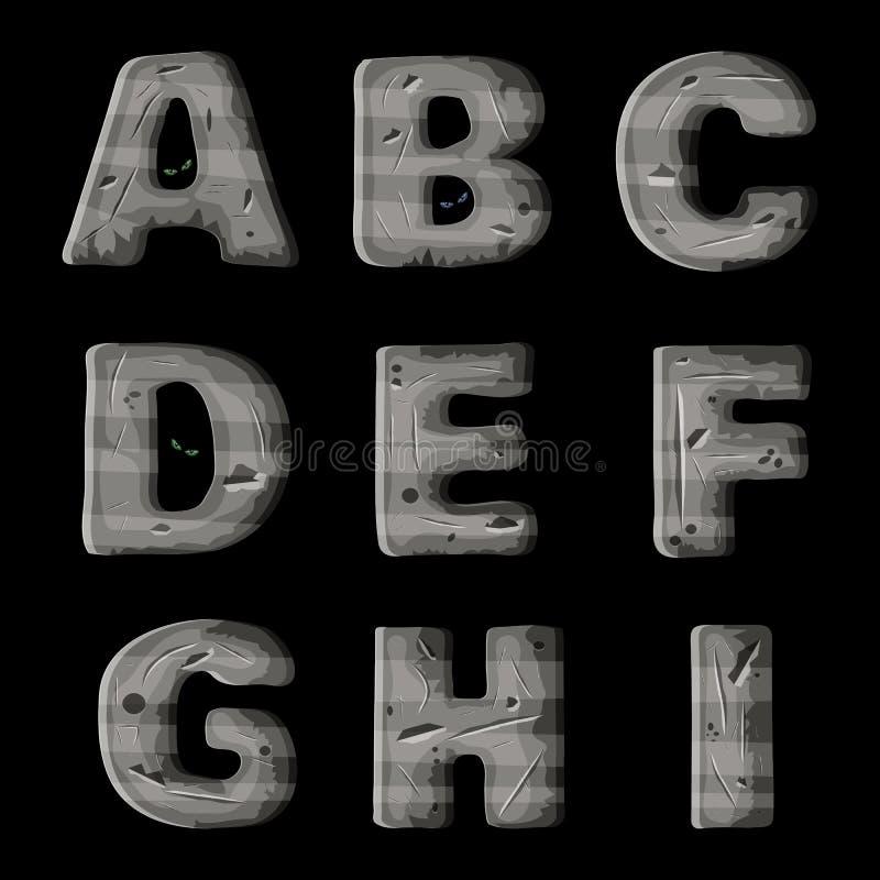 Un sistema de letras del metal, diseño de la fuente de vector para los juegos video y móviles ilustración del vector