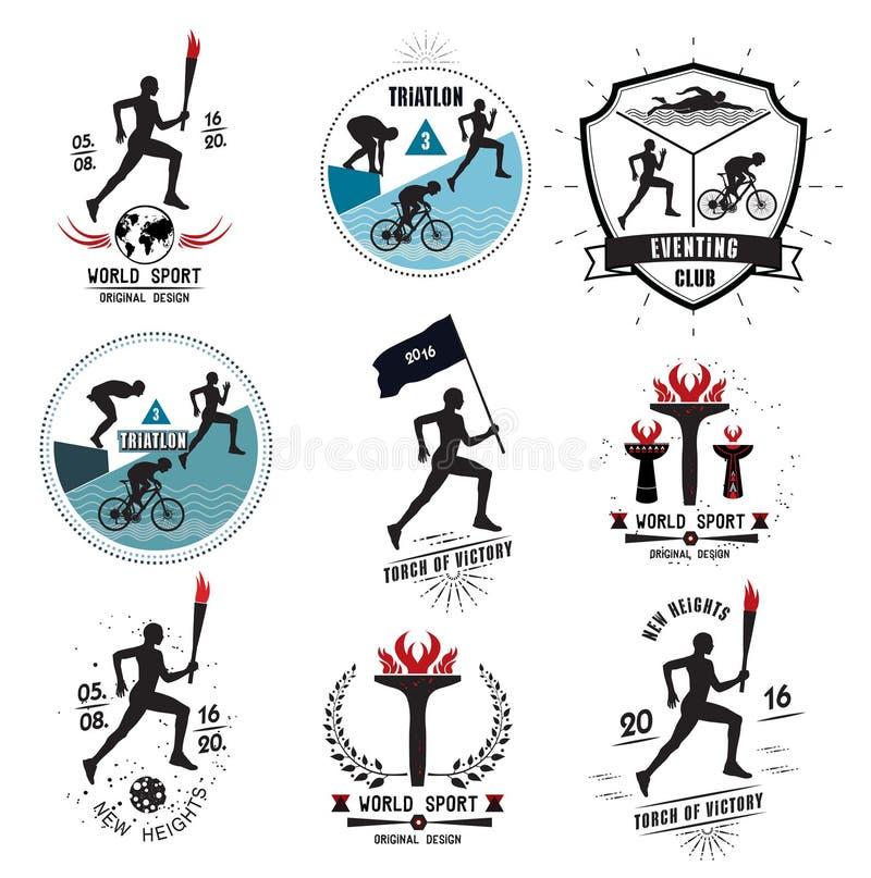 Un sistema de logotipos de los deportes, de emblemas y de elementos del diseño stock de ilustración