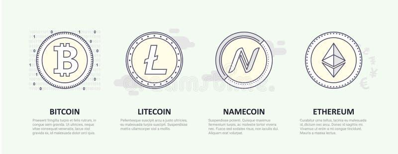 Un sistema de logotipos de la moneda crypto popular ilustración del vector
