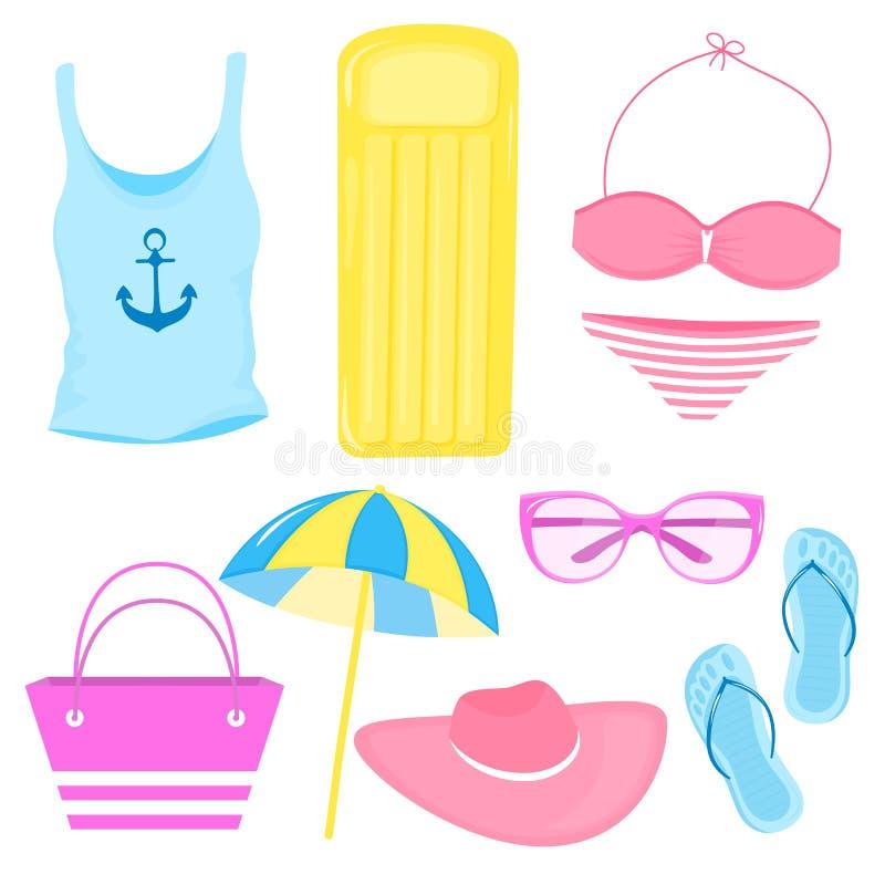 Un sistema de los accesorios del verano por un día de fiesta de la playa Traje de baño, camiseta, Panamá, colchón de aire, bolso, ilustración del vector