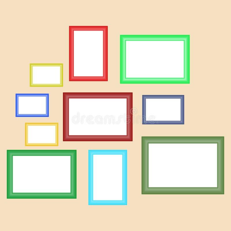 Un sistema de los bastidores retros para las pinturas de diversos colores que cuelgan en la pared stock de ilustración