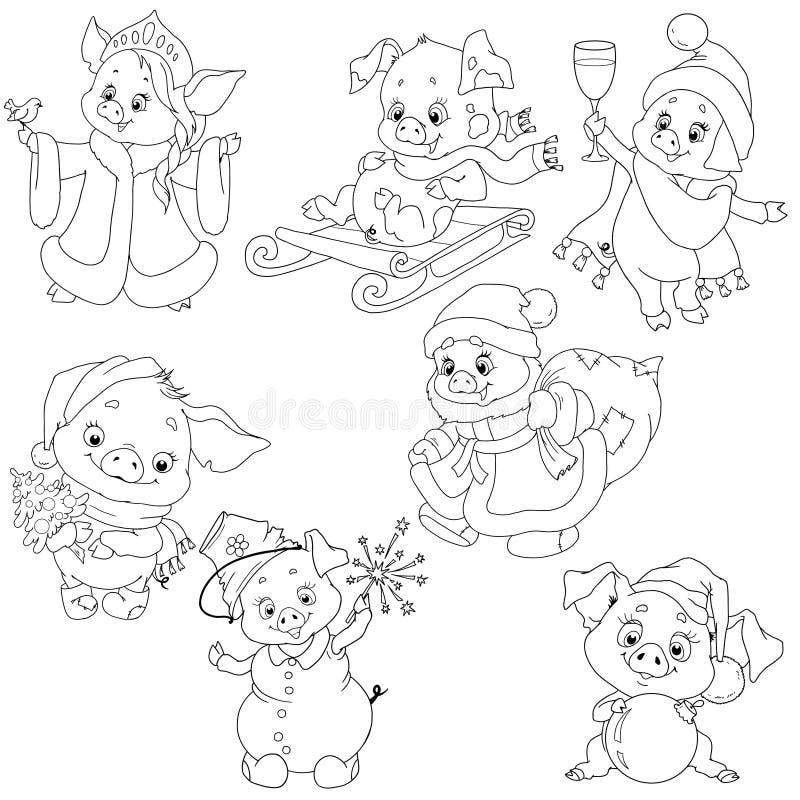 Un sistema de los caracteres lindos por el Año Nuevo Caracteres de la Navidad Historieta guarra para colorear el libro Elementos  stock de ilustración