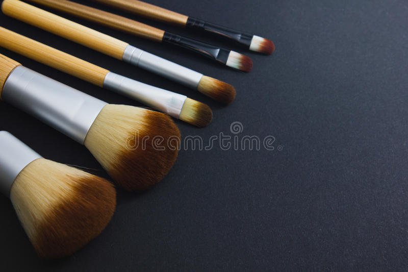 Un sistema de los cepillos para el maquillaje profesional en un fondo negro fotografía de archivo libre de regalías