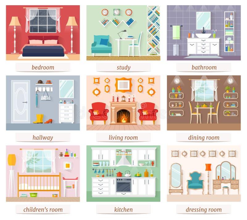 Un sistema de los cuartos de diversos diseños y propósitos Vector stock de ilustración
