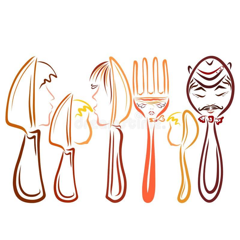 Un sistema de los cubiertos con los rostros humanos, dos familias, cuchillos, cucharas libre illustration
