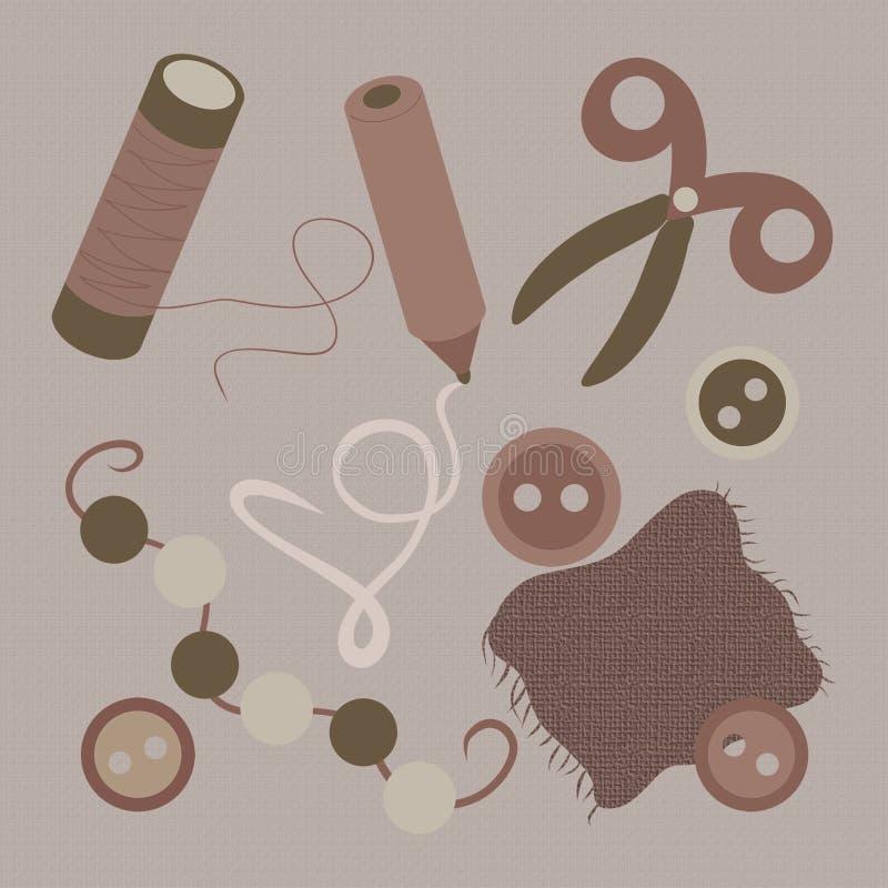 Un sistema de los diversos artículos para la costura y coser ilustración del vector