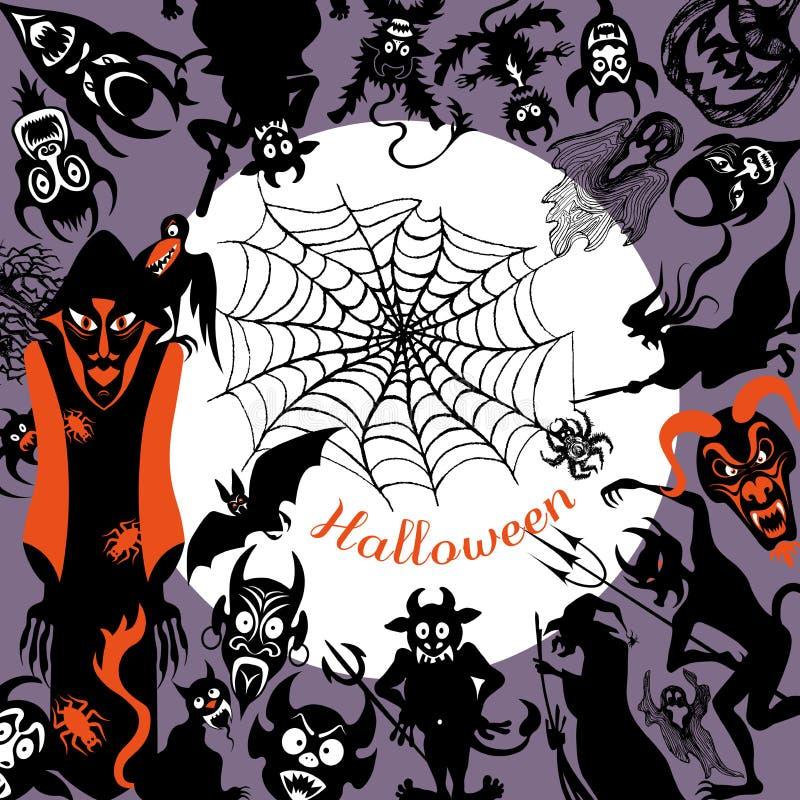 Un sistema de los ejemplos clasificados del vector para Halloween ilustración del vector