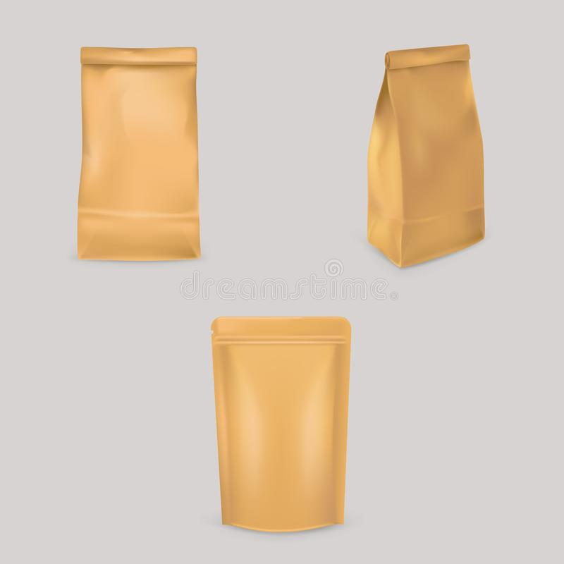 Un sistema de los ejemplos del vector de las bolsas de papel marrones para empaquetar, almacenamiento de productos ilustración del vector