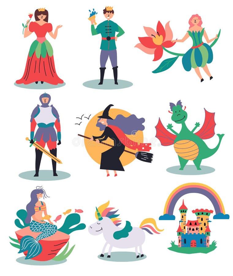 Un sistema de los ejemplos fabulosos bruja, hada, princesa, príncipe, caballero, sirena, unicornio, castillo, dragón stock de ilustración