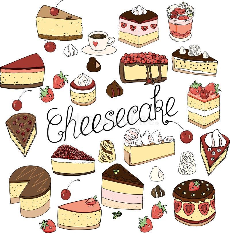 Un sistema de los elementos del pastel de queso, de las tortas y de los pasteles, sistema del garabato dibujado a mano libre illustration