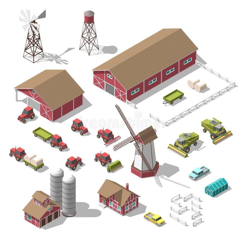 Un sistema de los elementos isométricos 3D para el infographics de una granja o de un juego Ejemplo del vector del aislado stock de ilustración