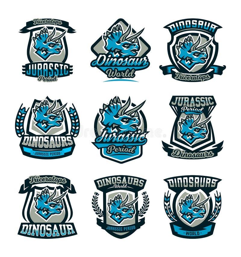 Un sistema de los emblemas coloridos, logotipos, dinosaurios del período jurásico Triceratops, insignia, escudo Ilustración del v libre illustration