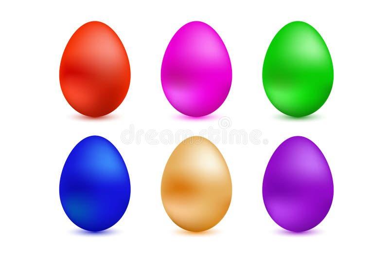 Un sistema de los huevos de Pascua coloreados en un fondo blanco ilustración del vector