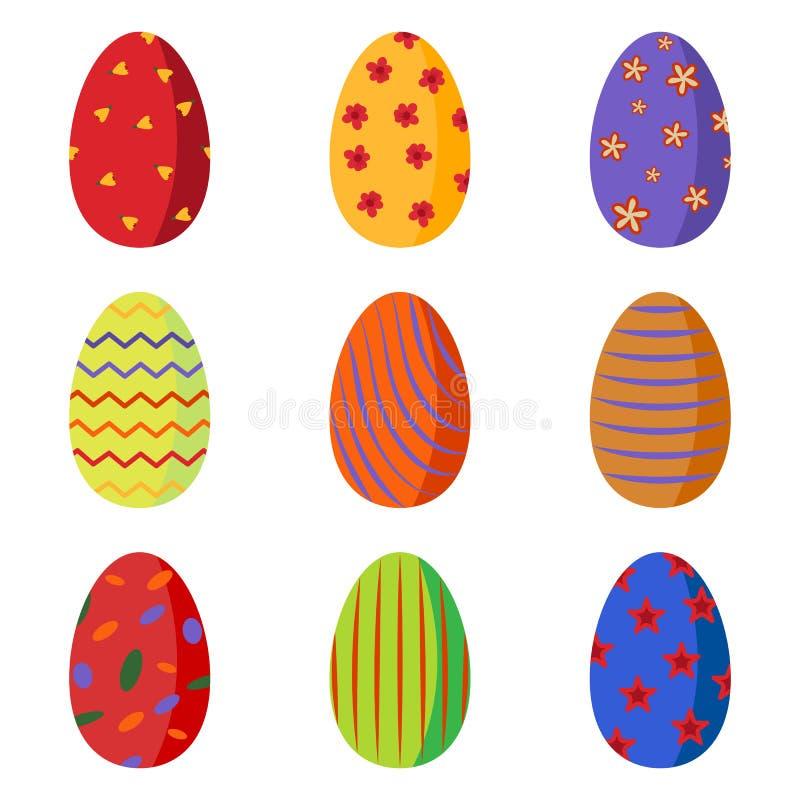 Un sistema de los huevos de Pascua coloridos brillantes adornados con las flores, círculos, rayas, agita ilustración del vector