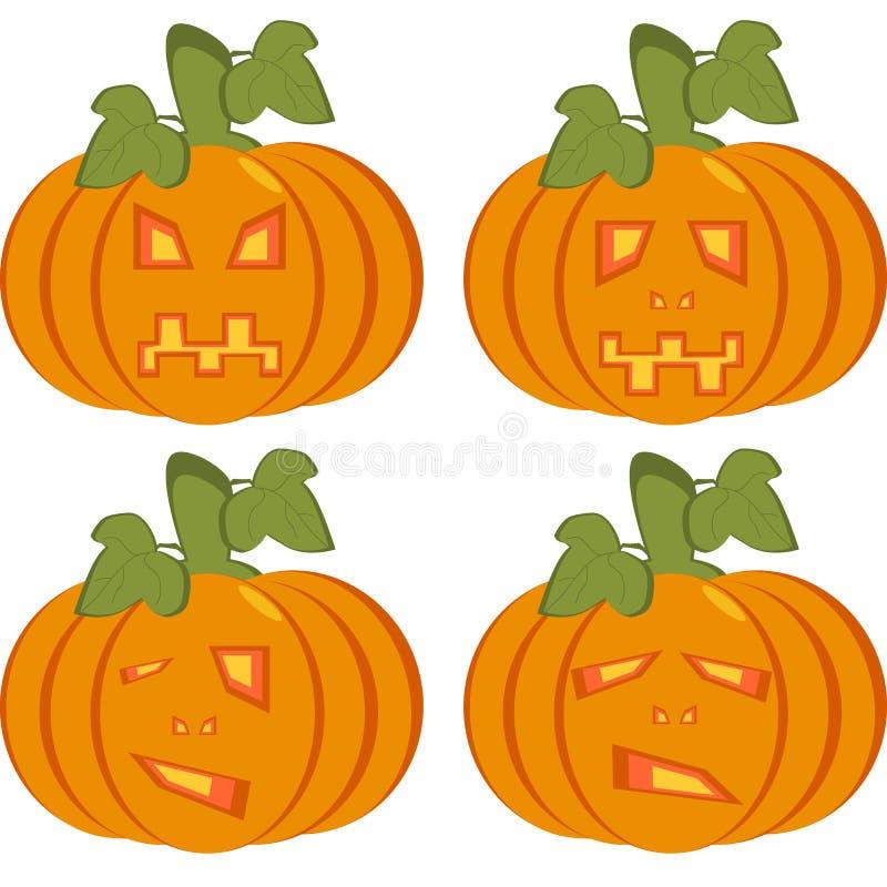 Un sistema de los iconos aislados de calabazas anaranjadas con las caras talladas ilustración del vector