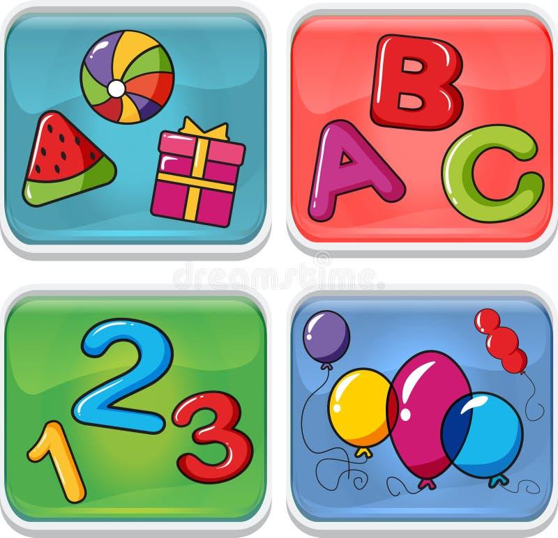 Un sistema de los iconos para los niños que ayudan a estudio libre illustration