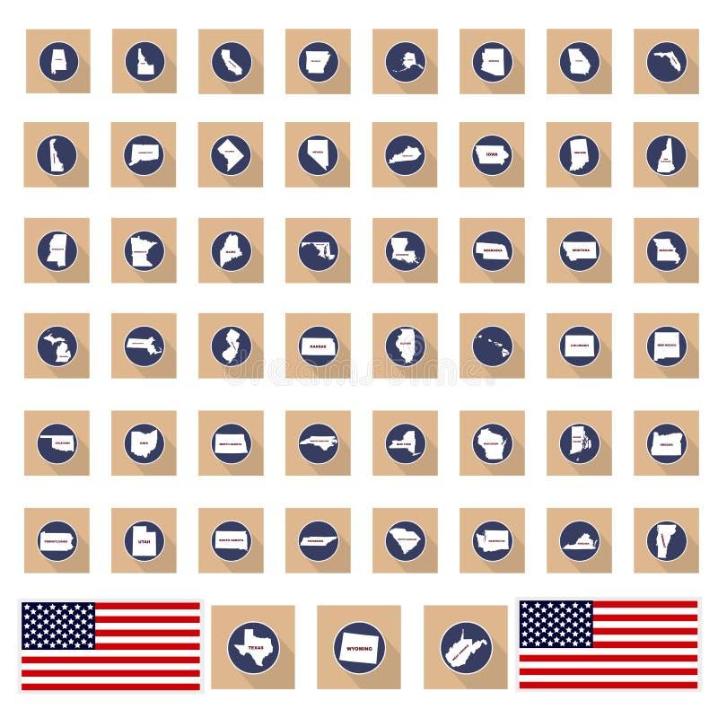 Un sistema de los mapas de los estados de América en un fondo blanco - v stock de ilustración