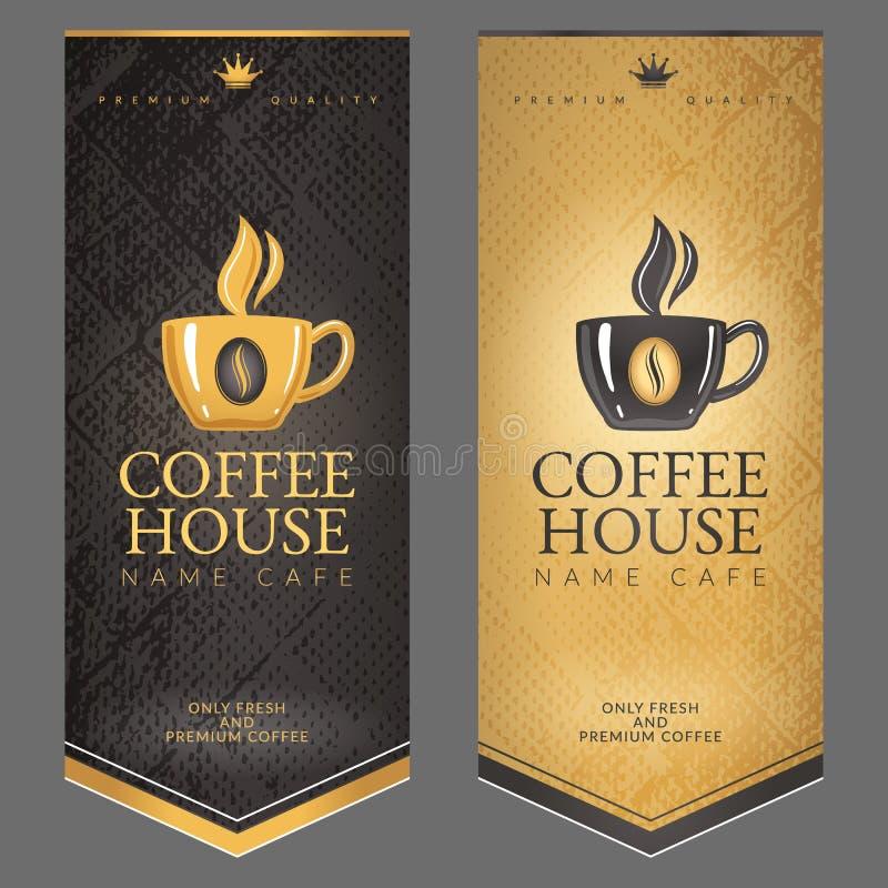 Un sistema de los menús para el café ilustración del vector