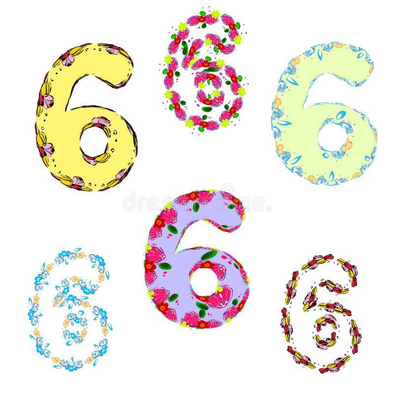 un sistema de los números de los sixes del día de fiesta para la decoración del cumpleaños stock de ilustración
